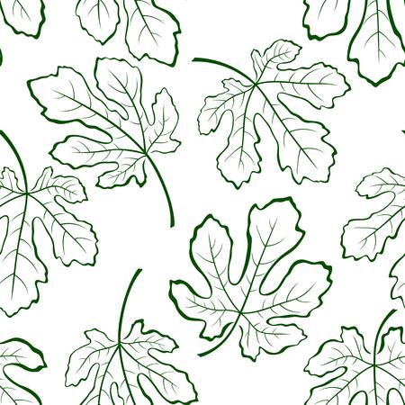 feuille de figuier: Seamless tile pattern, Figuier Green Leaves Outline Pictogrammes Contour isolé sur fond blanc. Vecteur