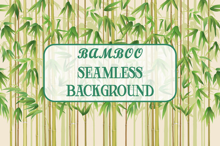 green plants: Exotic Horizontal Seamless Pattern, Tropical Bamboo Plants Trunks, Stems, Branches and Green Leaves. Vector