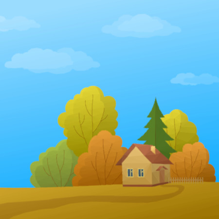 dacha: Landscape, Country House in Autumn Forest with Coniferous and Deciduous Trees and Blue Sky with Clouds, Low Poly. Vector Illustration