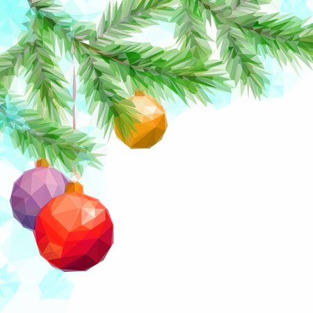 christmastide: Christmas Holiday Background with Fir Tree Branches and Toy Balls, Low Poly. Vector Illustration