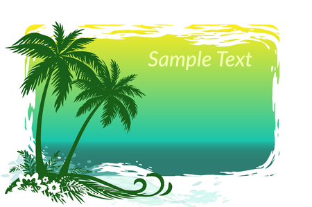 carribean: Exotic Landscape, Tropical Palms Trees, Flowers and Grass Silhouettes on Sea Background. Illustration