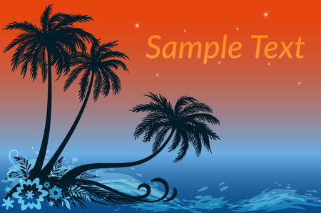 Exotic Landscape, Tropical Palms Trees, Flowers and Grass Silhouettes Against the Night Sea and Star Sky.