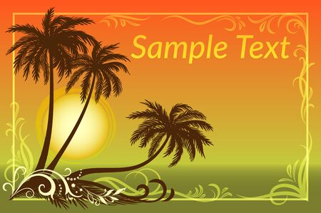 Exotic Landscape, Tropical Palms Trees Silhouettes, Sun and Gold Frame with Floral Pattern on a Background of the Morning Sea.