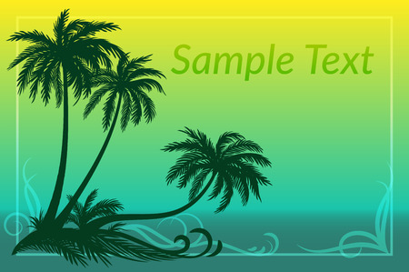 sea grass: Exotic Landscape, Tropical Palms Trees Silhouettes, Grass and Floral Pattern on Sea Background.