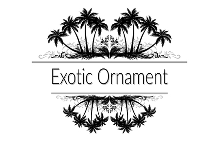 Exotic Ornament, Palm Trees and Grass Black Silhouette and Abstract Grey Floral Pattern with Place for Your Text. Çizim