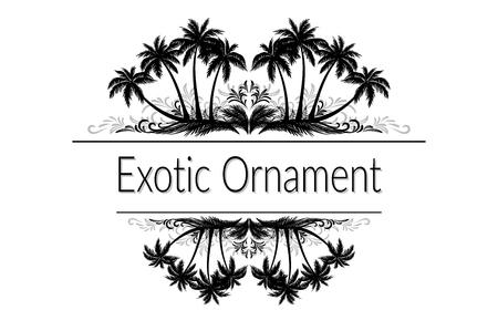 arbres silhouette: Ornement exotique, palmiers et herbe Silhouette noire et gris Motif floral abstrait avec place pour votre texte.