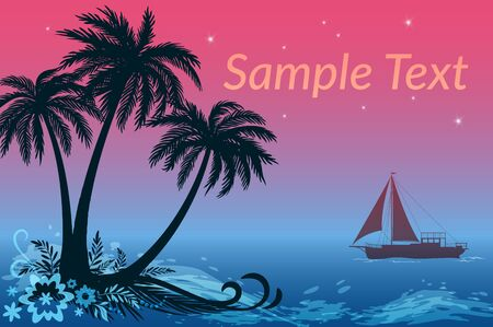 sea grass: Exotic Landscape, Sailing Ship and Tropical Island, Palms Trees, Flowers and Grass Silhouettes against the Night Sea and Star Sky.