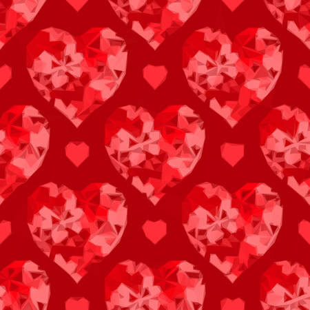 cordial: Valentine Holiday Background with Red Hearts, Low Poly Abstract Pattern, Colorful Polygonal Background.