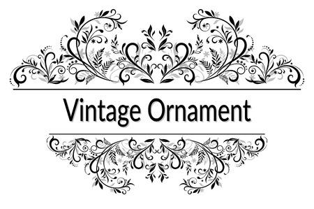 Calligraphie Ornement Vintage, Cadre décoratif avec motif floral abstrait, Contours noir isolé sur fond blanc.