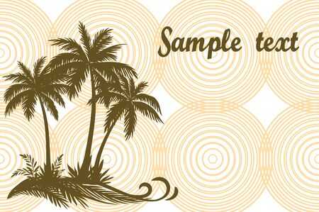 Tropical Landscape, Palms Trees and Grass Brown Silhouettes on Background with Rings.