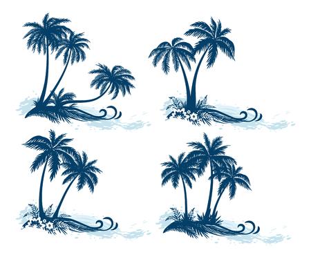 열대 풍경, 야자수, 꽃과 흰색 배경에 고립 잔디 실루엣과 바다 파도를 설정합니다.