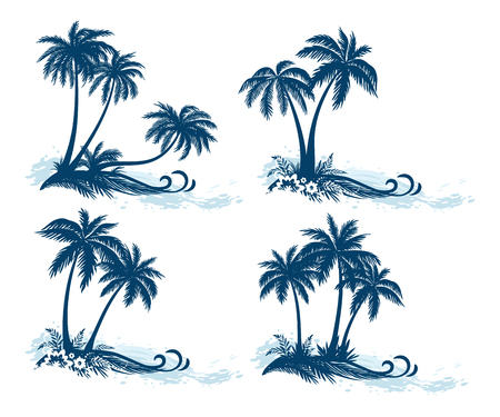 Set Tropical Landscapes, Palm Trees, Flowers and Grass Silhouettes and Sea Waves, Isolated on White Background. Çizim