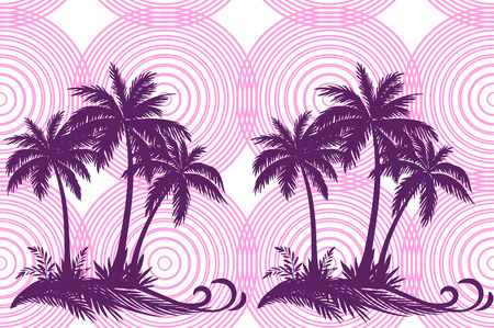 carribean: Exotic Horizontal Seamless Pattern, Tropical Landscape, Palms Trees and Grass Silhouettes on Background with Pink Rings. Illustration
