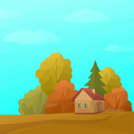 deciduous: Landscape, Country House in Autumn Forest with Coniferous and Deciduous Trees and Blue Sky with Clouds, Low Poly.