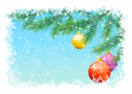 newyear: Christmas Holiday Background with Spruce Fir Tree Branches, Toy Balls and Snowflakes, Low Poly.
