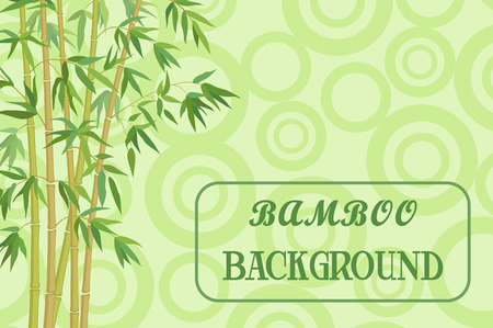 coppice: Bamboo Stems with Green Leaves on Background, Abstract Pattern with Ring. Illustration