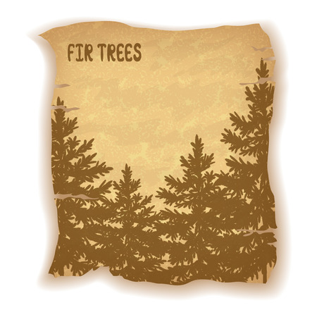 bucolical: Landscape, Fir Trees Silhouettes on Vintage Background of an Old Sheet of Paper. Eps10, Contains Transparencies.