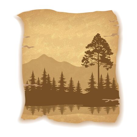 pine trees: Landscape, Trees, River and Mountains Silhouettes on Vintage Background of an Old Sheet of Paper. Illustration
