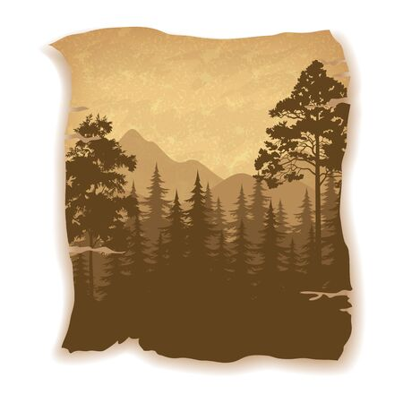 Landscape, Summer Forest, Coniferous and Deciduous Trees and Mountains Silhouettes on Vintage Background of an Old Sheet of Paper.