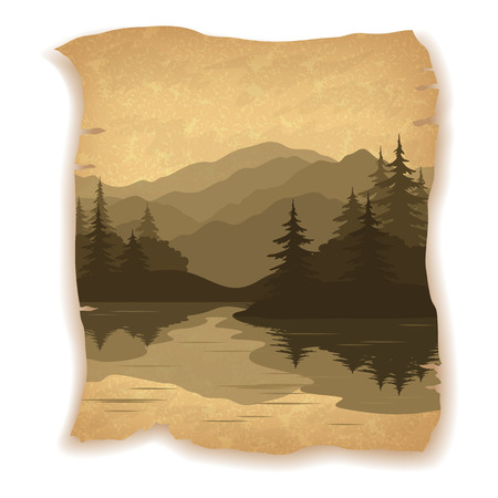 mountain landscape: Landscape, Mountain Lake with Islands, Coniferous Fir Trees Silhouettes on Vintage Background of an Old Sheet of Paper.