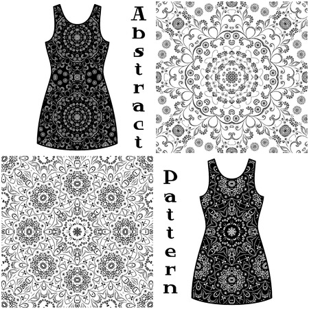 symbolical: Set Seamless Floral Patterns, Black Symbolical Contours Isolated on White Background, Elements for Your Design, Prints