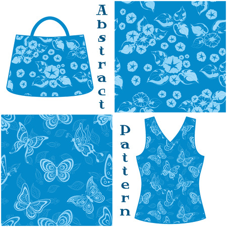 symbolical: Set Seamless Patterns, Symbolical Flowers and Butterflies Contours and Silhouettes on Blue Background, Element for Design, Prints Illustration
