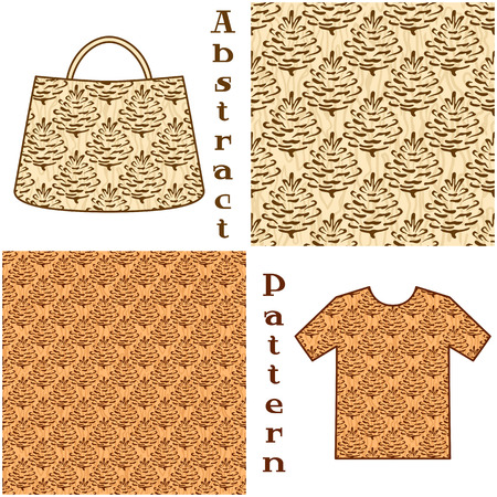 coniferous tree: Seamless Patterns, Brown Outline Pictogram Cones of Coniferous Tree on Abstract Background, Elements for Your Design, Prints and Banners, For the Example Presented in a Female Top and a Bag.