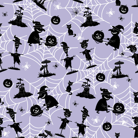 cobwebs: Seamless Pattern, Black Silhouette of a Witch, Pumpkin, Scarecrow and Other Halloween Holiday Symbols on the Background with White Contours of Cobwebs and Spiders. Illustration
