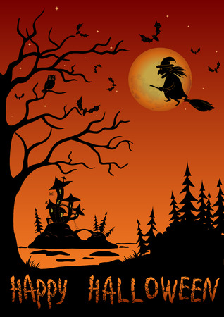 marsh: Holiday Halloween Landscape, Witch Flying on Broom Over Forest and Marsh With Castle Mushroom, Black Silhouette Against Tree With Owl, Bats And Moon in Sky. Illustration