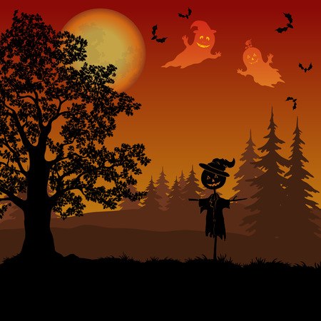 Holiday Halloween Landscape, Oak Tree in the Forest, Scarecrow Jack-o-Lantern, Sky with the Moon, Ghosts and Bats, Black Silhouettes. Illustration