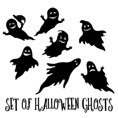 wizardry: Set for Holiday Halloween Design, Flying Ghosts, Cartoon Character with Different Emotions, Black Silhouettes Isolated on White Background. Vector Illustration