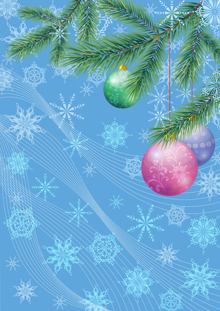 Background for Christmas Holiday Design, Green Fir Coniferous Branches, Glass Balls and Outline Snowflakes.