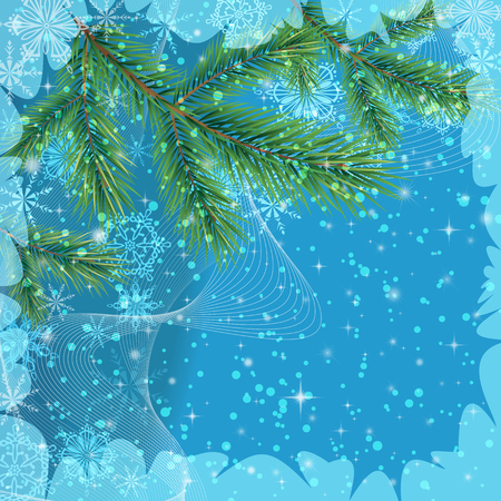 christmastide: Background for Christmas Holiday Design, Green Fir Coniferous Branches and Blue Outline Snowflakes.