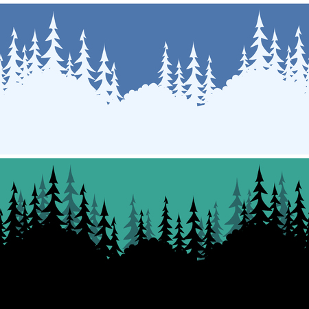 summer sky: Set Seamless Horizontal Backgrounds, Fir Trees Silhouettes, White on Blue Sky for Christmas Holiday and Summer Night Black on Green. Illustration