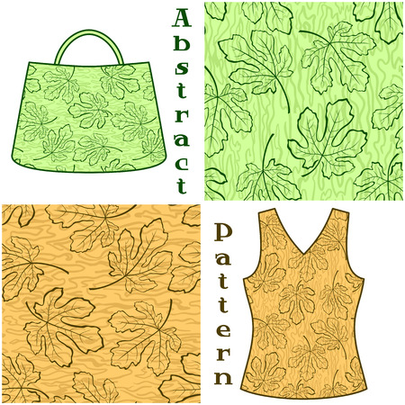 fig: Set Seamless Patterns, Contours Fig Tree Leaves and Abstract Background, Elements for Your Design, Prints and