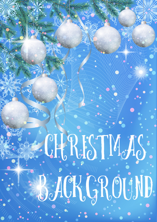 Blue Background for Christmas Holiday Design, Green Fir Coniferous Branches, Glass Balls, Serpentine Ribbons and Snowflakes.