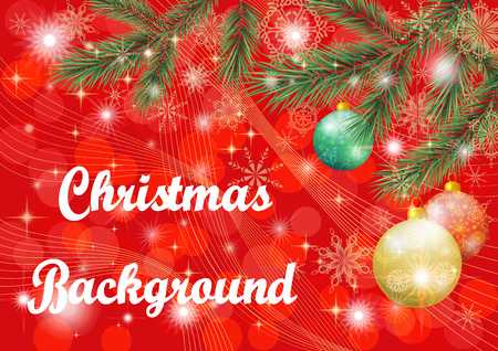 Christmas Holiday Background with Fir Branches, Balls and Snowflakes.