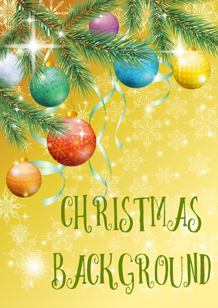 christmastide: Yellow Background for Christmas Holiday Design, Green Fir Coniferous Branches, Glass Balls, Serpentine Ribbons and Snowflakes Contours.