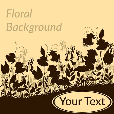 ipomoea: Floral Background, Landscape, Ipomoea Flowers, Leaves and Grass Black Silhouettes. Vector Illustration