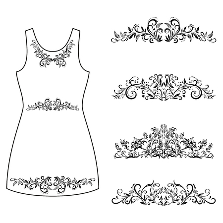 symbolical: Set Outline Floral Patterns, Symbolical Flowers and Butterflies Black Contours Isolated on White Background, Element for Design, Prints and Banners, For the Example Presented in a Female Dress. Vector Illustration