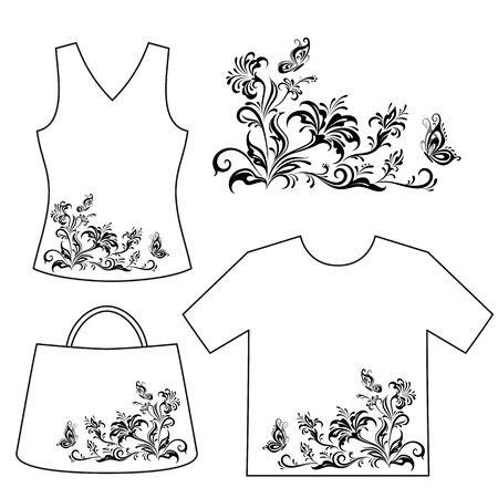 symbolical: Set Floral Patterns, Symbolical Flowers and Butterflies Black Contour Isolated on White Background, Element for Design, Print and Banner, For the Example Presented in Female Top, Shirt and Bag. Vector