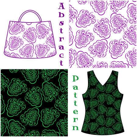 symbolical: Set Seamless Floral Patterns, Symbolical Plants Contours, Elements for Your Design, Prints and Banners, For the Example Presented in a Female Top and a Bag. Vector