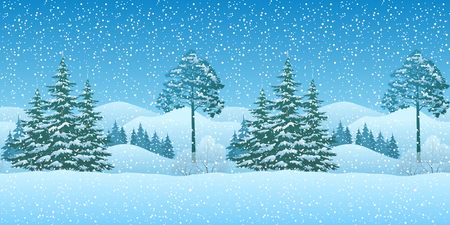 seamless horizontal winter christmas mountain woodland landscape with coniferous trees and snowflakes eps10 contains - Christmas Mountain