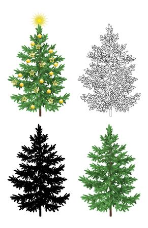 christmastide: Set of Christmas Trees, with Holiday Decorations, Gold Stars and Balls, Green Naturalistic and Black Outlines Contours and Silhouettes Isolated On White Eps10, Contains Transparencies.