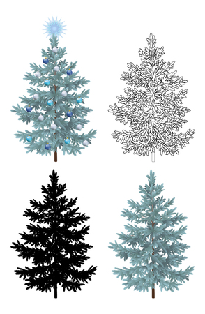 naturalistic: Set of Christmas Trees, with Holiday Decorations, Blue Star and Balls, Green Naturalistic and Black Outlines Contours and Silhouettes Isolated On White. Eps10, Contains Transparencies.