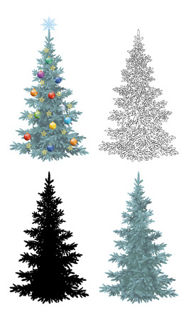 christmastide: Set of Christmas Trees, with Holiday Decorations, Gold Stars and Colorful Balls, Green Naturalistic and Black Outlines Contours and Silhouette Isolated On White Eps10, Contains Transparencies.