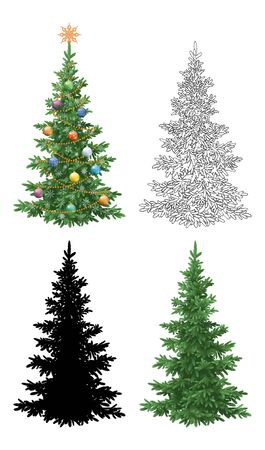 Set Christmas Trees, with Holiday Decorations, Star, Snowflakes, Balls and Garland, Green Naturalistic and Black Contours and Silhouettes Isolated On White. Eps10, Contains Transparencies.