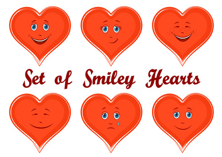 cordial: Set Valentine Holiday Symbols, Red Cartoon Hearts, Faces with Different Emotions, Funny and Sad, Laughing and Weeping, Isolated on White Background. Vector