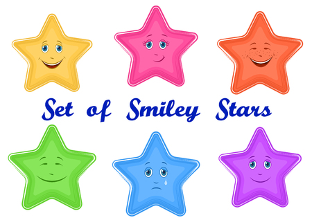 Set Cartoon stars Faces with Different Emotions, Funny and Sad, Laughing and Weeping, Isolated on White Background. Vector