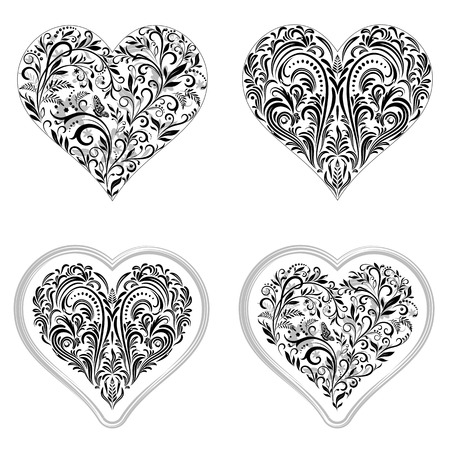 cordial: Set Valentine Holiday Symbols, Hearts with Floral Pattern, Leafs And Butterflies, Black Contours Isolated on White Background. Vector